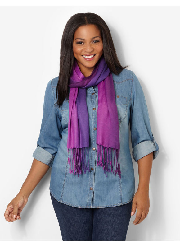 Catherines Plus Size Ombre Scarf - Women's Size One Size, Dusty Purple
