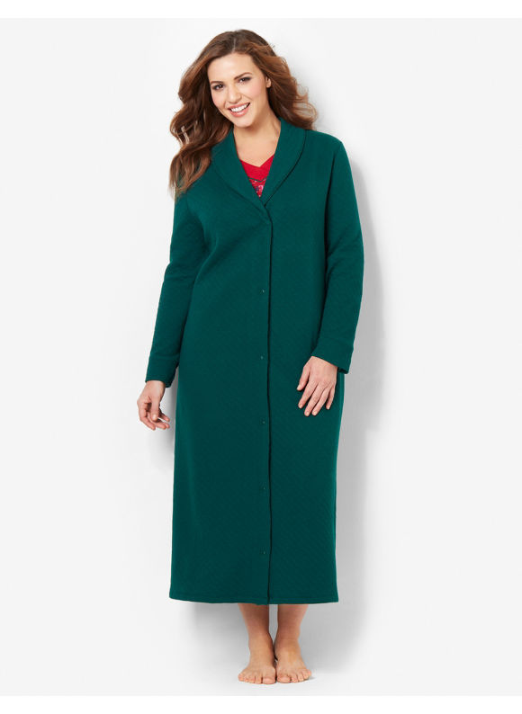 Catherines Plus Size Buttonfront Quilted Robe - Metal Green
