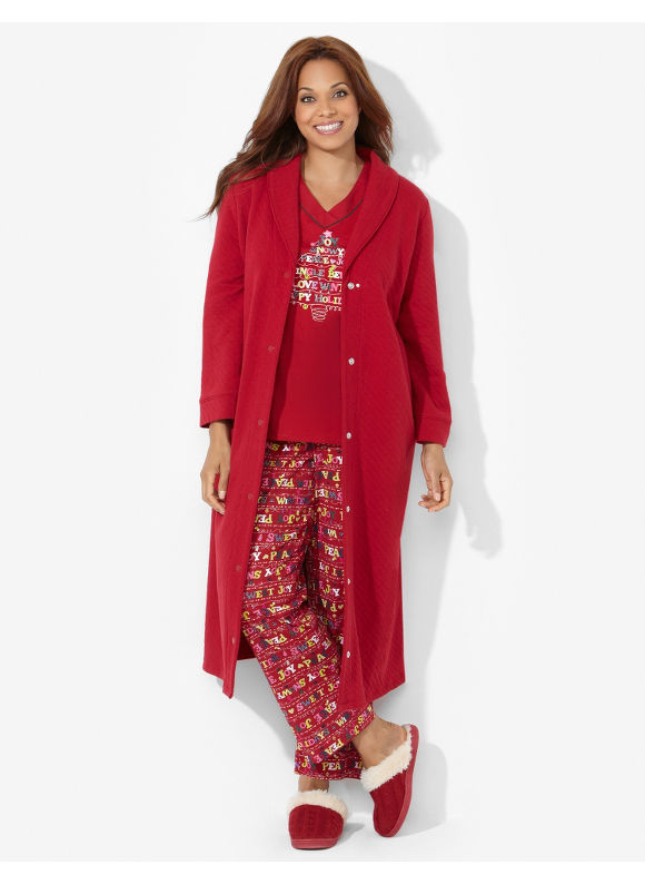 Catherines Plus Size Buttonfront Quilted Robe - Jester Red