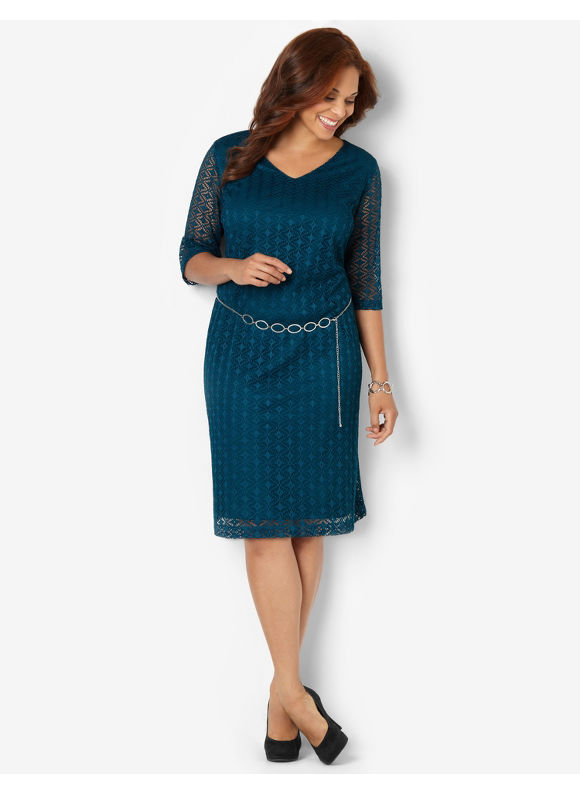 Plus Size Modern Crochet Dress Catherines Sea Green