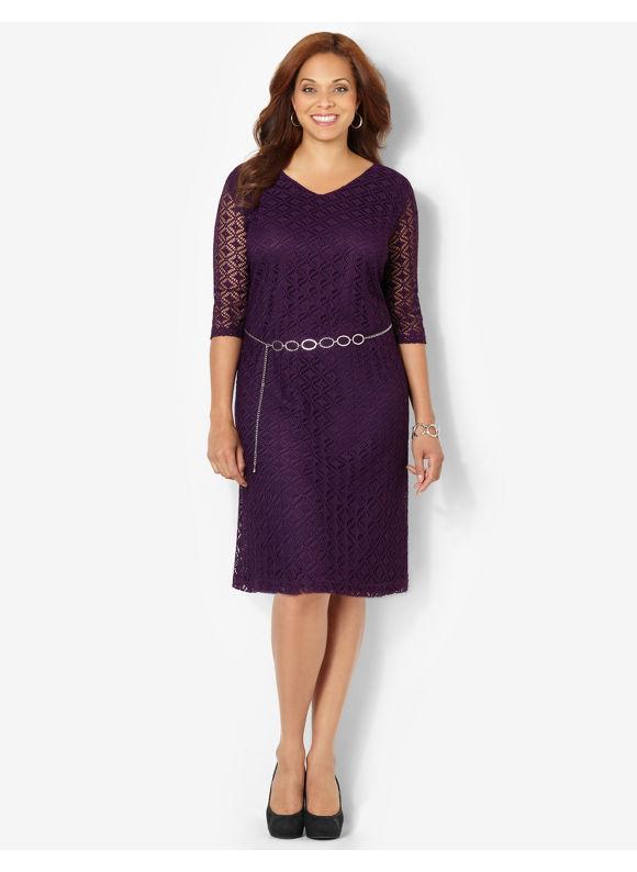 Plus Size Modern Crochet Dress Catherines Womens Size 1X, Crushed Grape