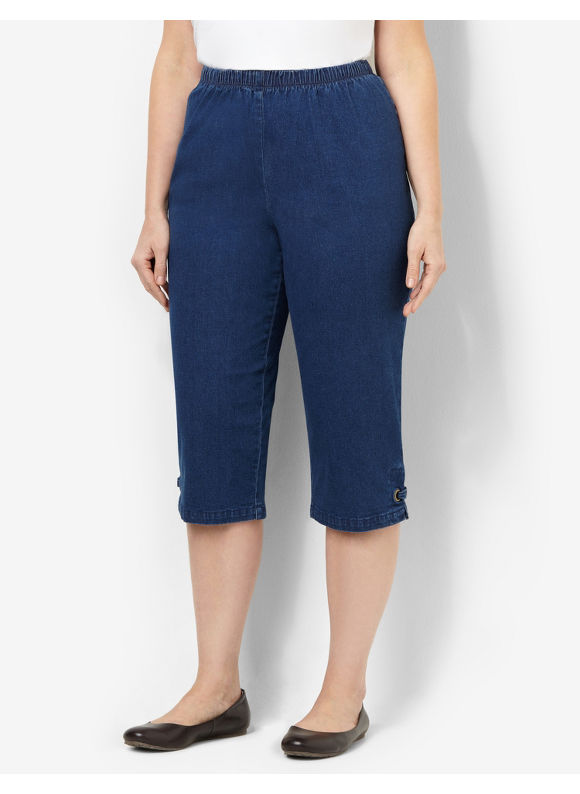 Catherines Plus Size Everyday Knit Capri -  Indigo