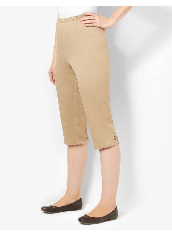 Catherines Plus Size Essential Twill Capri - Neutral