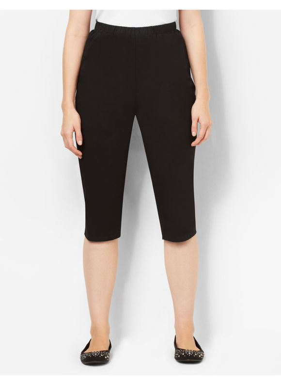 Image of Catherines Plus Size Essential Twill Capri  Womens Size 3X Black