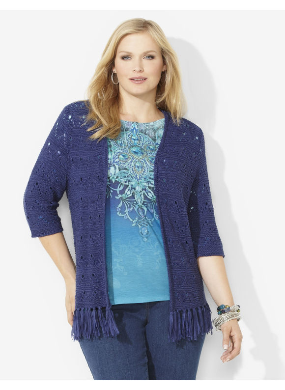 Catherines Plus Size Festive Fringe Cardigan - New Navy