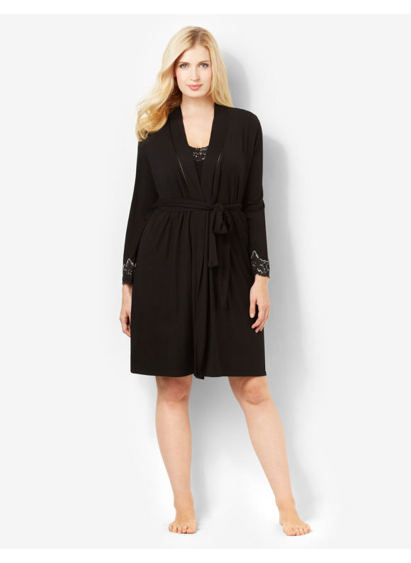 Catherines Plus Size Luxe Touch Robe - Black