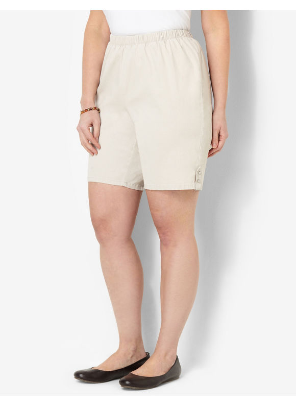 Catherines Plus Size Essential Twill Short - Khaki