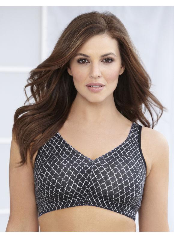 Image of Catherines Plus Size Geometric NoWire Cotton Comfort Bra  Womens Size 48DD Black
