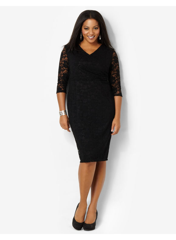 Plus Size Divine Lace Dress Catherines Black