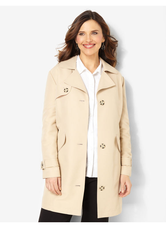 Catherines Plus Size Stylish Trench Coat - Khaki