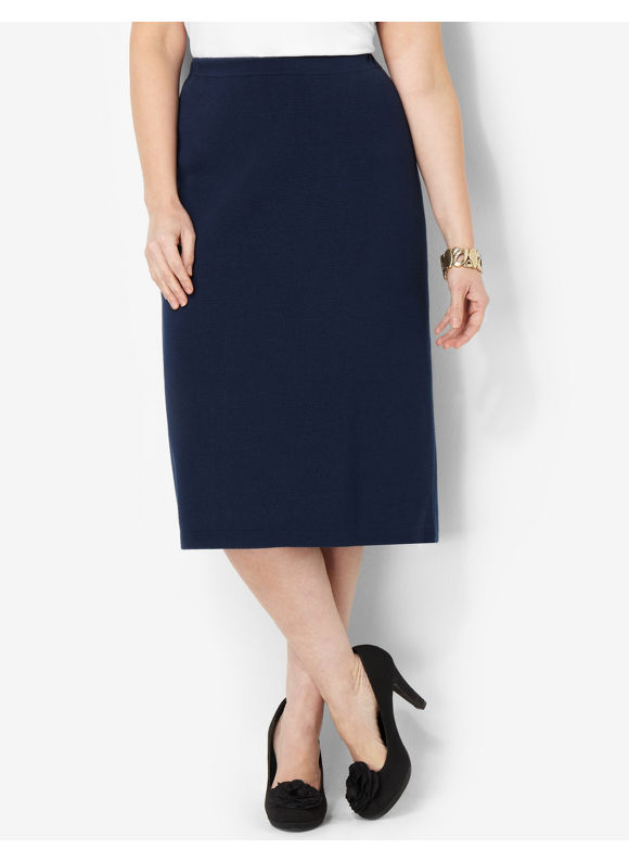 Catherines Plus Size Cozy Ribbed Skirt - Dark Blue