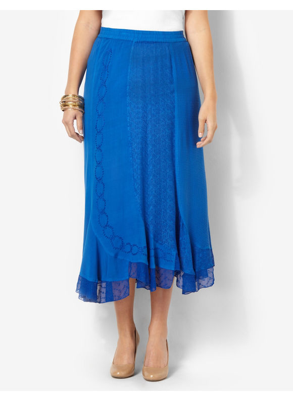Catherines Plus Size Textured Patch Skirt - Princess Blue