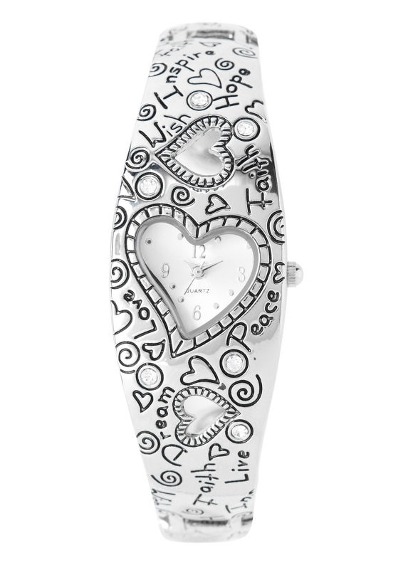 Catherines Plus Size Heart Charm Watch - Women's Size One Size, Silver Shimmer