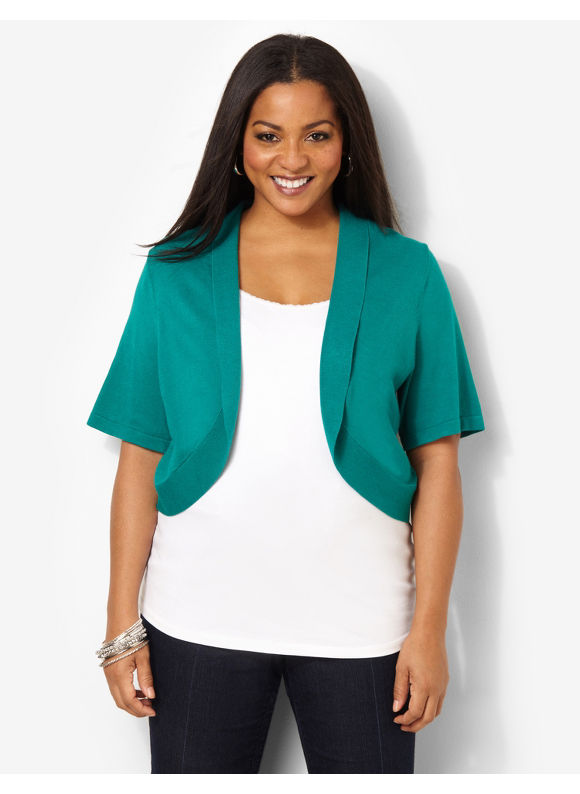 Catherines Plus Size Jersey Shrug - Mineral Teal