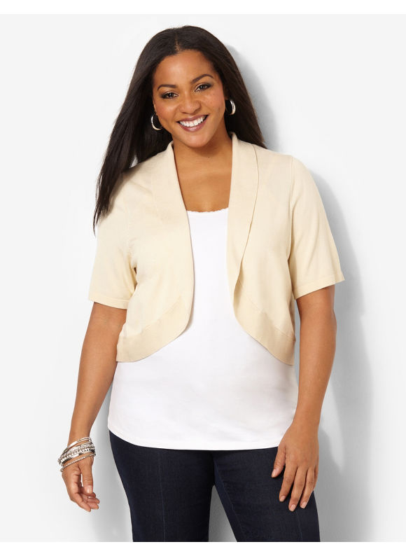Catherines Plus Size Jersey Shrug - Seed Pearl