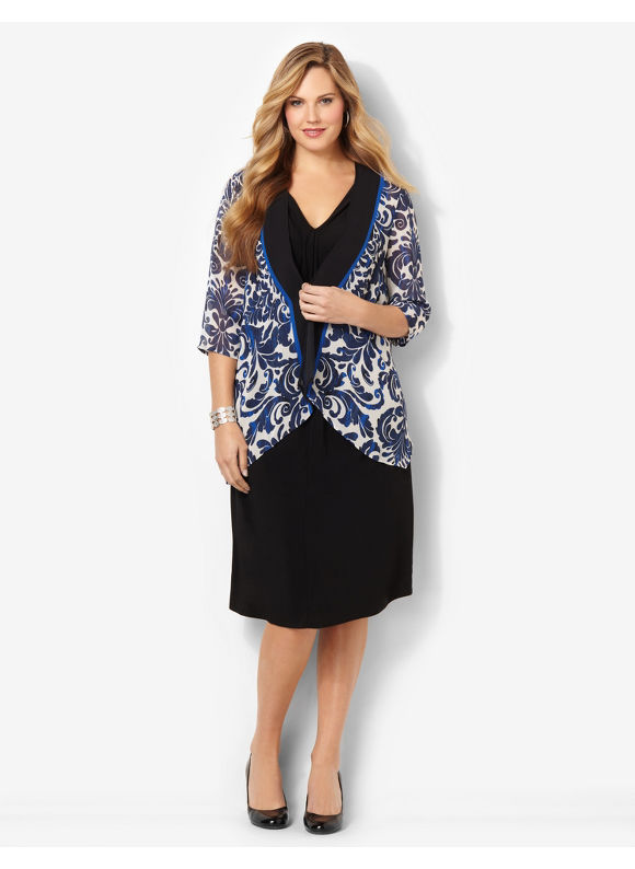 Plus Size Damask Jacket Dress Catherines Black