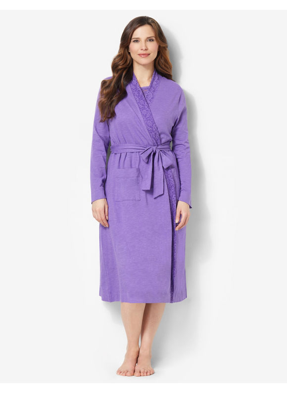 Catherines Plus Size Light Lace Robe - Passion Flower