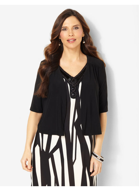 Catherines Plus Size Style-Staple Shrug - Black