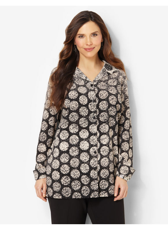 Catherines Plus Size Sunsphere Blouse -  Black