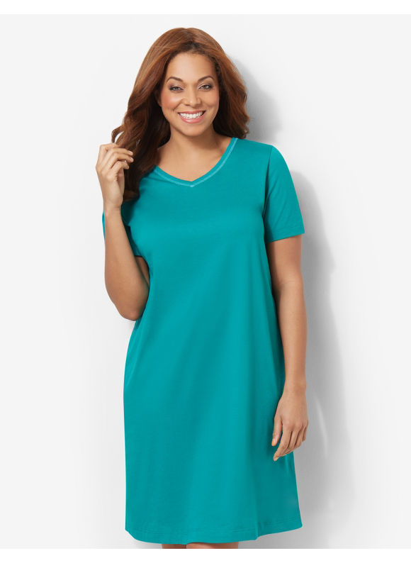 Catherines Plus Size Pop Of Color Sleepshirt - Mineral Teal