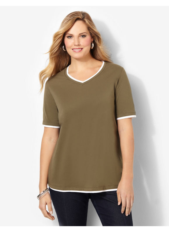 Catherines Plus Size Suprema Layered Look V-Neck - Women's Size 0X, Ivy Green
