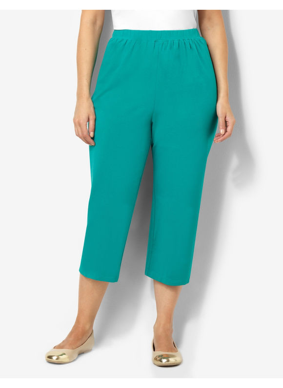 Catherines Plus Size Suprema Knit Capri - Mineral Teal