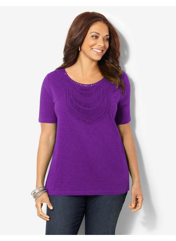 Image of Catherines Plus Size Savona Crochet Trim Top  Womens Size 3X Violet