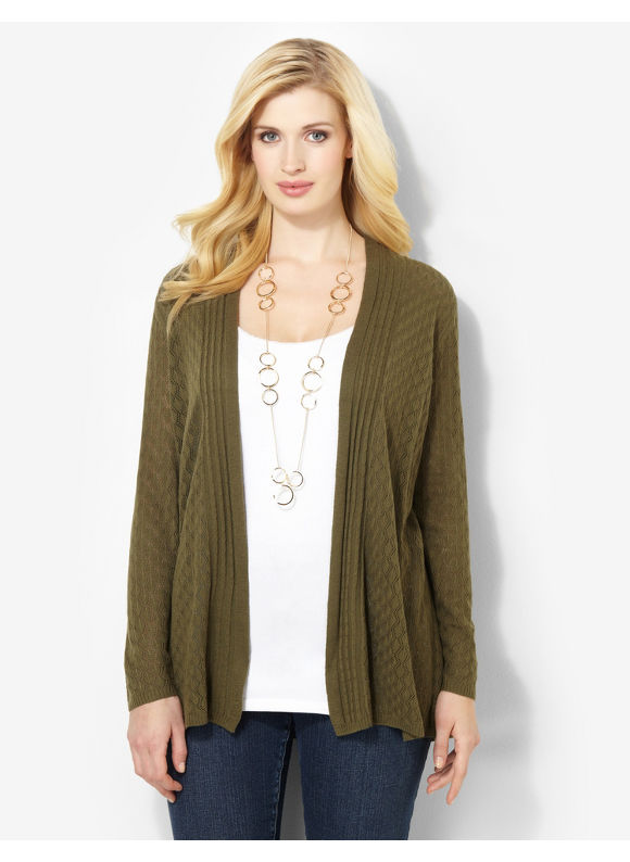 Image of Catherines Plus Size Essential Pointelle Cardigan  Womens Size 3X Dark Green