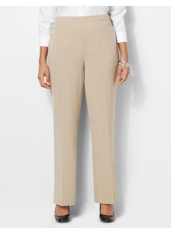 Catherines Plus Size Refined Fit Heathered Pant - Desert Khaki