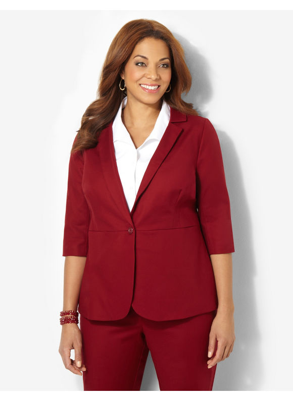 Catherines Plus Size Double Weave Blazer - Brown