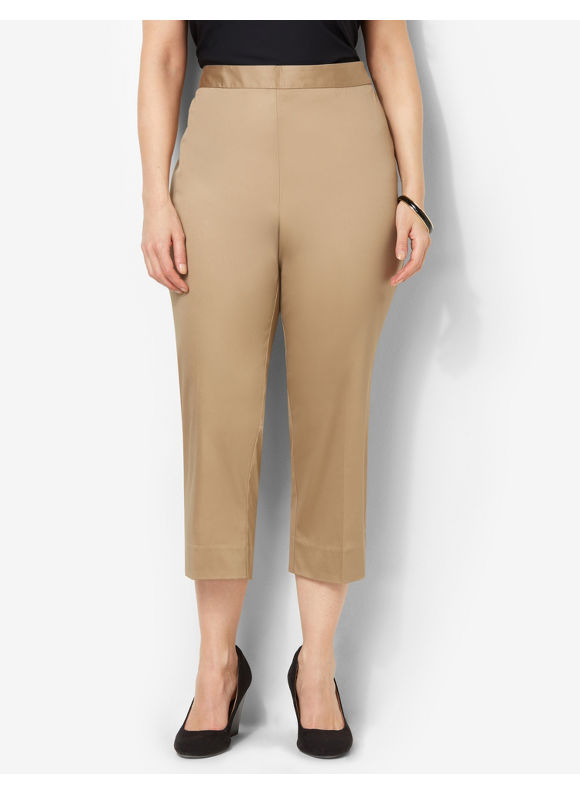 Catherines Plus Size Secret Slimmer Sateen Capri - Desert Khaki