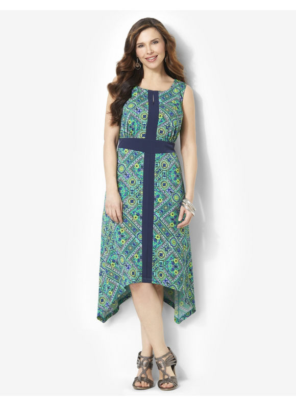 Plus Size Slimming Tile Dress Catherines Mineral Teal