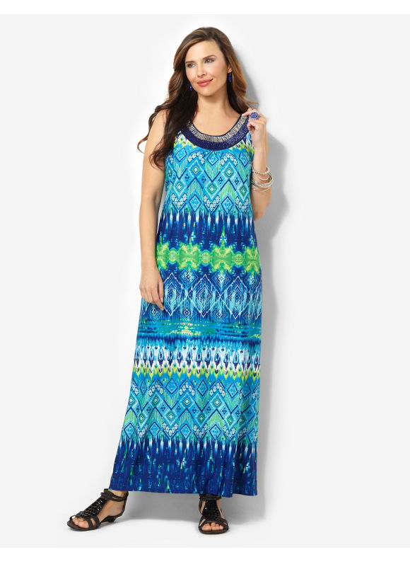 Plus Size Tribal Infusion Maxi Catherines Ocean Blue