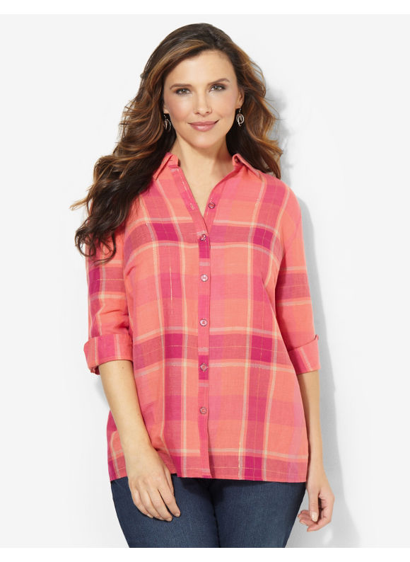 Image of Catherines Plus Size Pop Of Plaid Shirt  Womens Size 0X Party Pink
