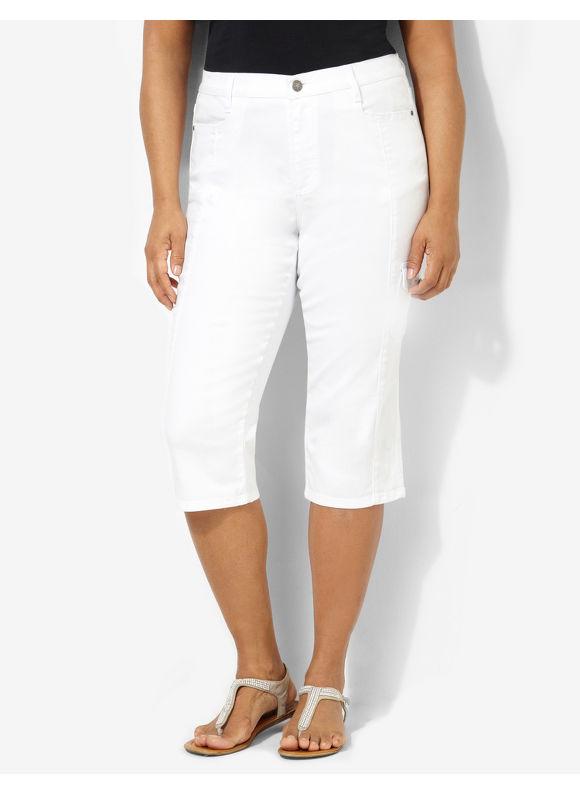Image of Catherines Plus Size Denim Cargo Capri  Womens Size 24W White