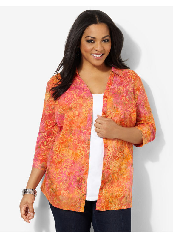 Image of Catherines Plus Size Bright Blend Shirt  Womens Size 0X Sedona Orange