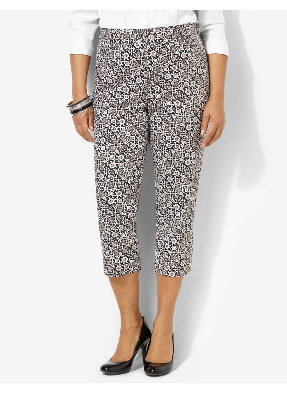 Plus Size BlackWhite Secret Slimmer Print Capri - Black/White Catherines