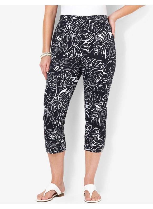 Image of Catherines Plus Size BlackWhite Secret Slimmer Print Capri  Womens Size 16W18W20W22W24W BlackWhite