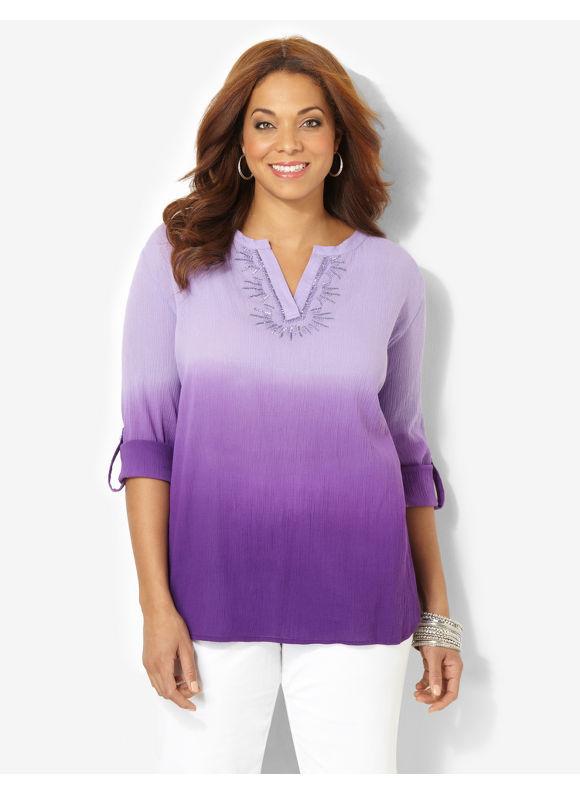 Image of Catherines Plus Size Bridgewater DipDyed Peasant  Womens Size 0X Violet Quartz