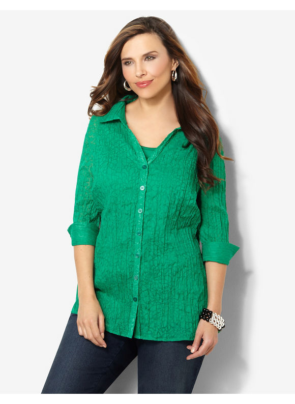 Image of Catherines Plus Size Crimped Buttonfront  Womens Size 0X Thyme Green