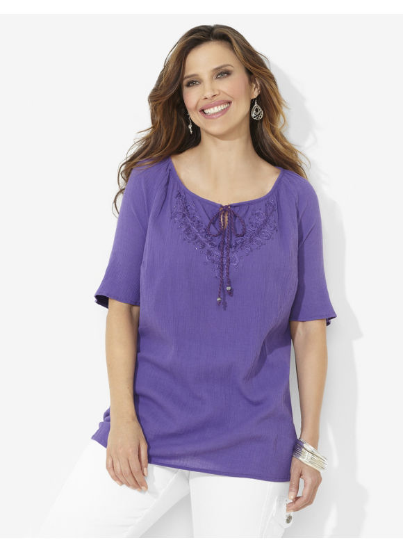 Image of Catherines Plus Size Embroidered Peasant  Womens Size 3X Violet