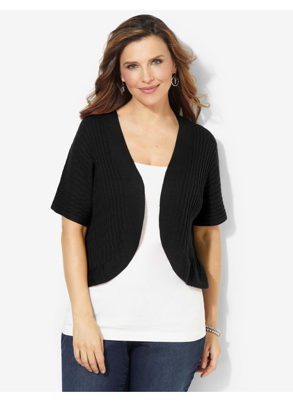 Catherines Plus Size Spring Fresh Shrug - Black