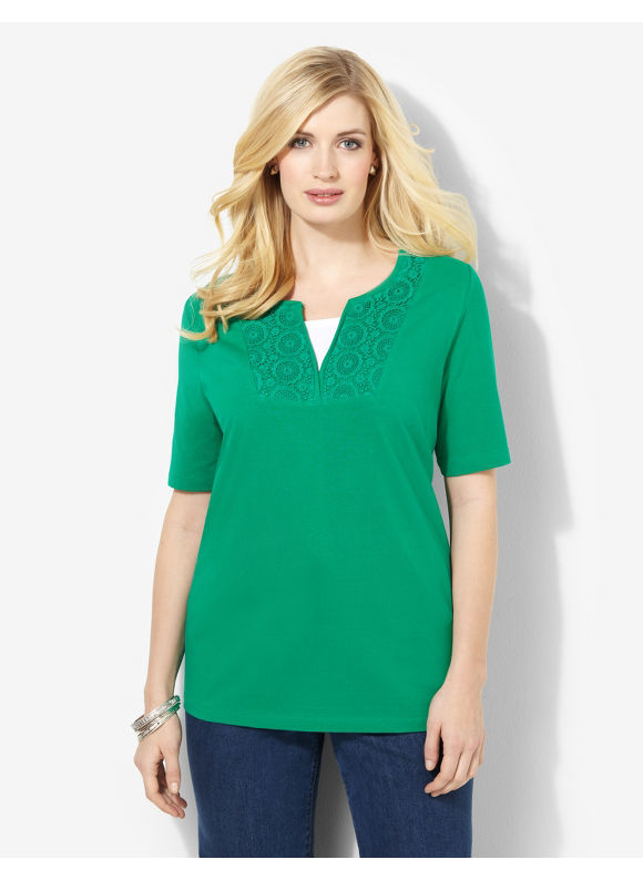 Image of Catherines Plus Size Everyday Crochet Tee  Womens Size 1X2X3X Thyme GreenVioletMariner Navy