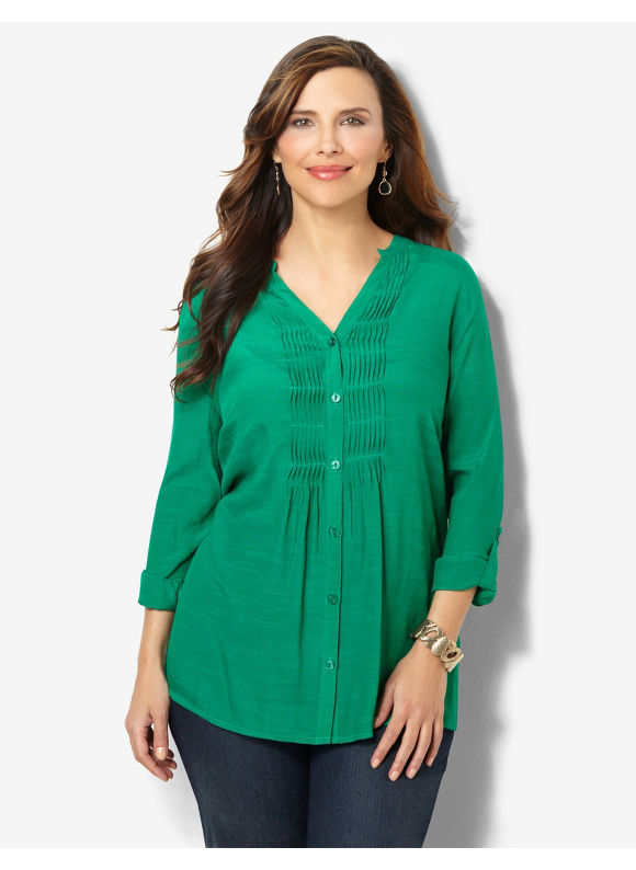 Image of Catherines Plus Size Ocean Breeze Buttonfront  Womens Size 2X Thyme Green