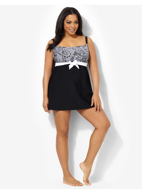 Image of Catherines Plus Size Seaside Paisley Swimdress  Womens Size 22W Black