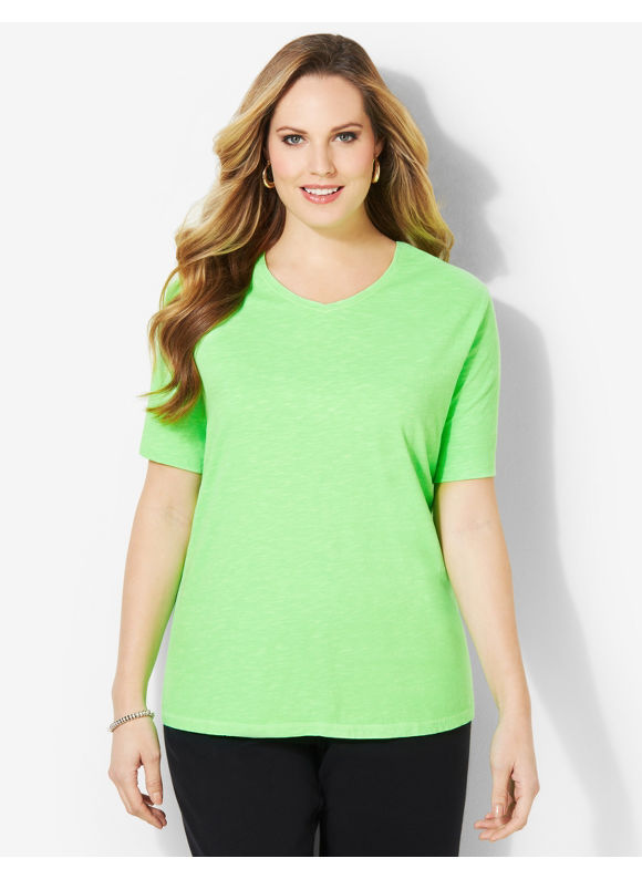 Image of Catherines Plus Size Basic Brights Tee  Womens Size 1X2X3X0X Bright Green