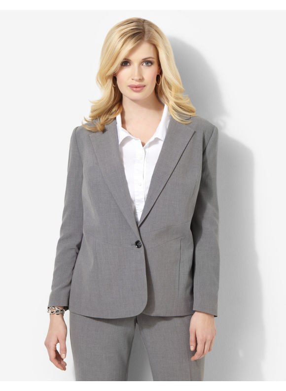 Catherines Plus Size Heathered Bi-Stretch Blazer - Gray