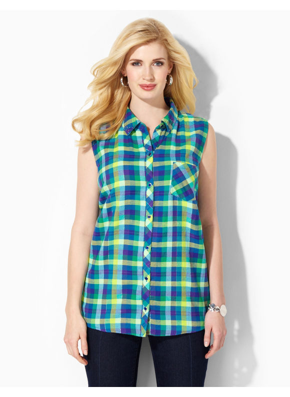 Catherines Plus Size Afternoon Picnic Shirt - Multi Color