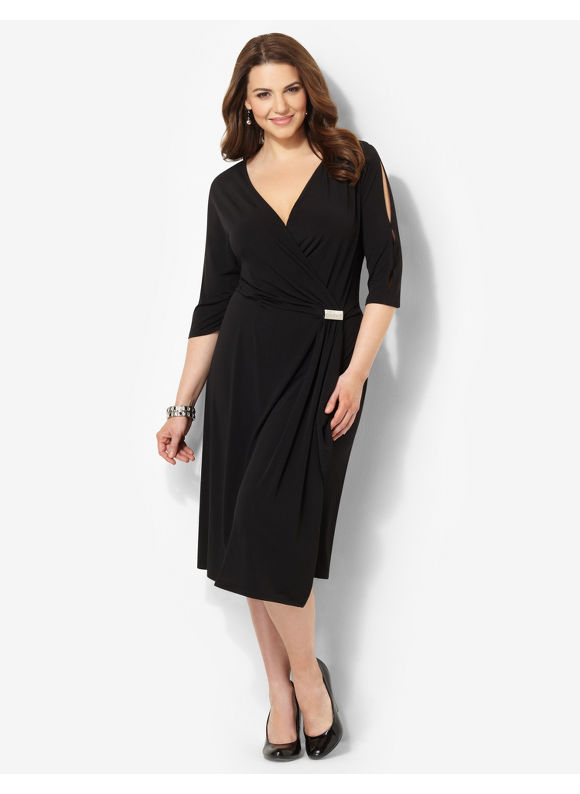 Plus Size Muse Wrap Dress Catherines Women's Size 3X, Black
