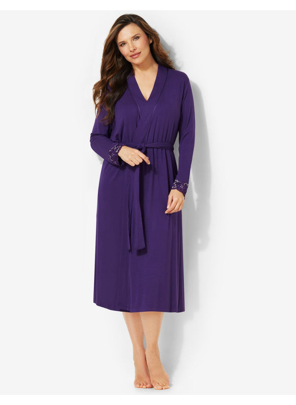 Catherines Plus Size Luxe Lounge Robe -  Aubergine